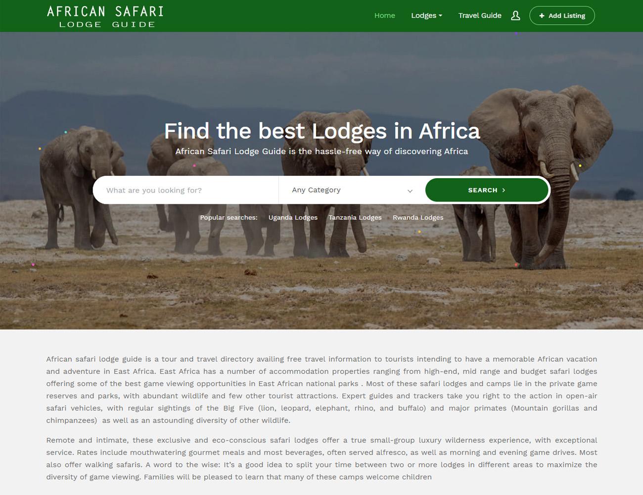 African safari lodge guide website designed by HostGiant
